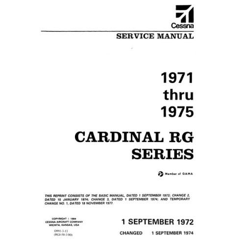 Cessna Cardinal Rg Series Shop Service Repair Manual 1971 Thru 1975