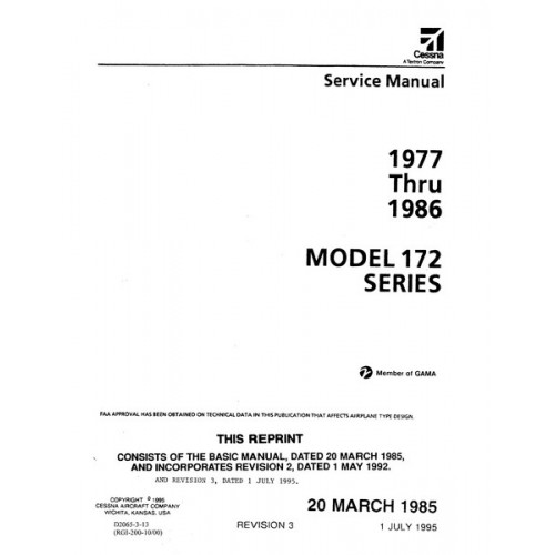 Cessna 172 Series Shop Service Repair Manual 1977 Thru 1986