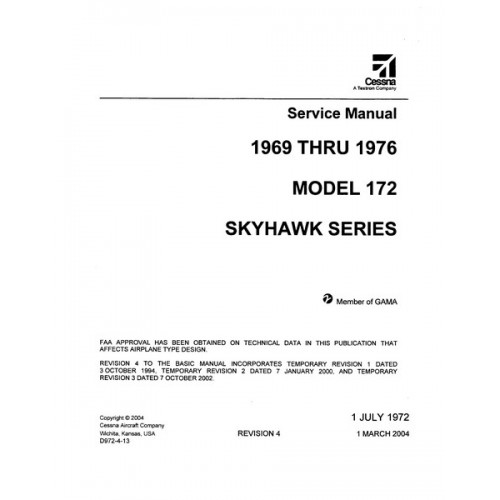 Cessna 172 Skyhawk Series Shop Service Manual 1969 thru 1976