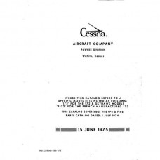 Cessna 172, F172 and Skyhawk Models Parts Catalog 1975