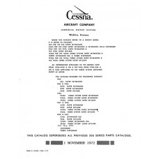 Cessna 206 Series Parts Catalog 1964 thru 1973
