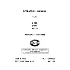 Continental E165, E185, and E225 Aircraft Engines Owners Operators Manual