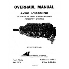 Lycoming 60294-5-4 Geared and Geared Supercharged Aircraft Engines Repair Overhaul Manual