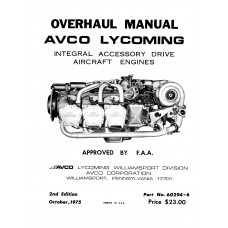 Lycoming Avco 60294-6 Integral Accessory Drive Aircraft Engines Overhaul Manual