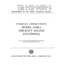 Lycoming O-480-1 Aircraft Engine Technical Repair Overhaul Manual 1957 1958