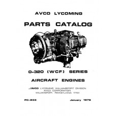 Lycoming O-320 Series WCF Model PC-203 Aircraft Engines Parts Catalog 1976