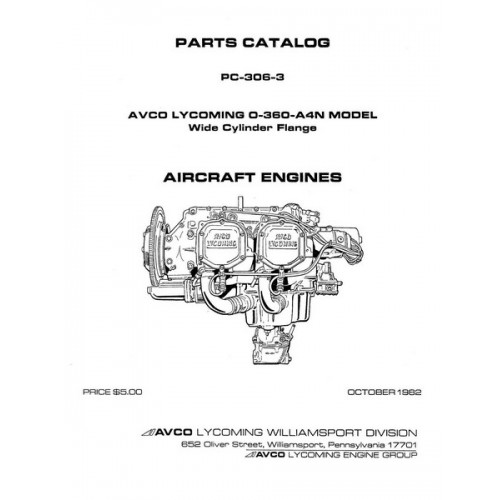 Lycoming O-360-A4N Model WCF Aircraft Engines PC-306-3 Parts