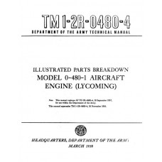 Lycoming O-480-1 Aircraft Engine TM 1-2R-0480-4 Technical Parts Manual 1958