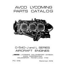 Lycoming O-540-J and L Series Aircraft Engines PC-415 Parts Catalog 1978