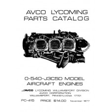 Lycoming O-540-J3C5D Model Aircraft Engines PC-415 Parts Catalog 1977