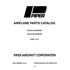 Piper Apache PA-23-160 752-421 Parts Catalog Manual 1973 thru 1998