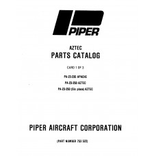 Piper Aztec PA-23-250 753-522 Parts Catalog Manual 1972 thru 1984