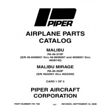 Piper Malibu PA-46-310P 761-782 Airplane Parts Catalog 1983 thru 2006