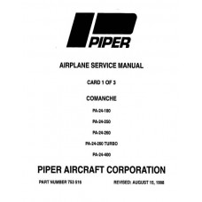 Piper Comanche PA-24-180, PA-24-250 753-516 Shop Service Manual 1958 thru 1964