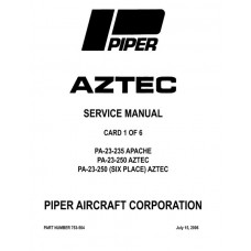 Piper Aztec PA-23-250 753-564 Shop Service Manual 1960 thru 2006