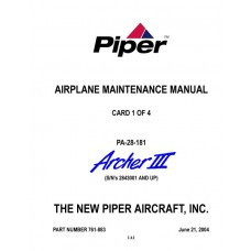 Piper Archer III PA-28-181 761-883 Airplane Service Maintenance Manual 2004