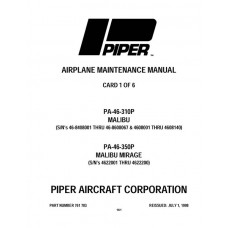 Piper Malibu PA-46-310P 761-783 Service Maintenance Manual 1983 thru 1998