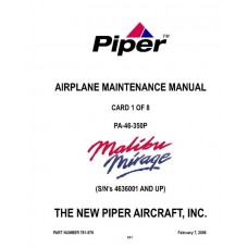 Piper Malibu Mirage PA-46-350P 761-876 Airplane Service Maintenance Manual 2006