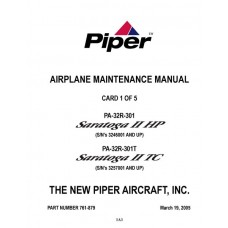 Piper Saratoga II HP/TC PA-32R-301 and PA-32R-301T 761-879 Service Maintenance Manual 2005