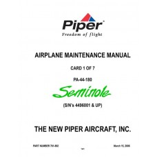Piper Seminole PA-44-180 761-892 Airplane Service Maintenance Manual 2006