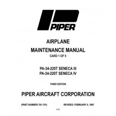 Piper Seneca III and IV PA-34-220T 761-751 Service Maintenance Manual 1980 thru 1997