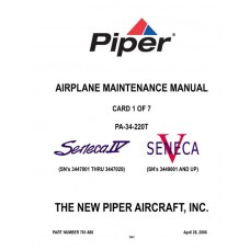 Piper Seneca IV and V PA-34-220T 761-888 Airplane Service Maintenance Manual 2006